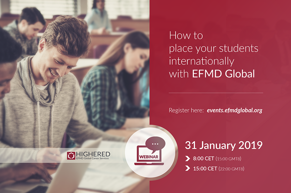 Upcoming webinar: How to place your students internationally with EFMD
